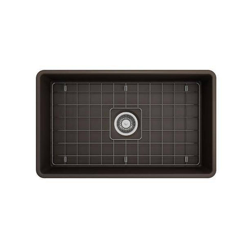 Bocchi Classico 30 Matte Brown Single Bowl Fireclay Farmhouse Sink With Free Grid - Annie & Oak