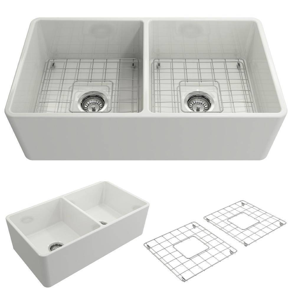 Bocchi Classico White 33D Fireclay Farmhouse Sink front view with and without strainer
