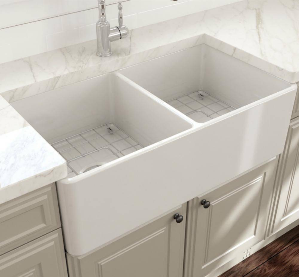 Bocchi Classico White 33D Fireclay Farmhouse Sink Installed in modern kitchen
