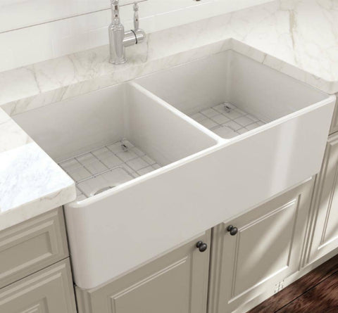 Image of Bocchi Classico White 33D Fireclay Farmhouse Sink Installed in modern kitchen