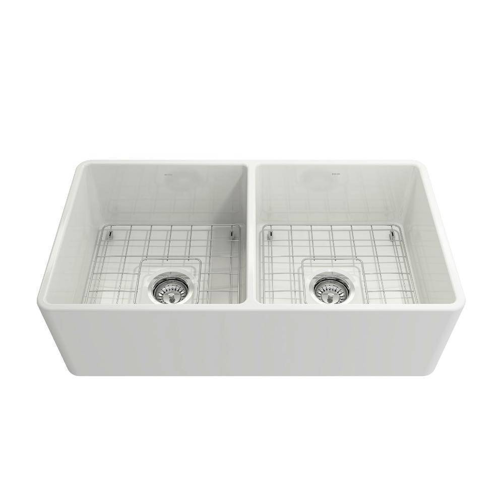 Bocchi Classico White 33D Fireclay Farmhouse Sink front view white background