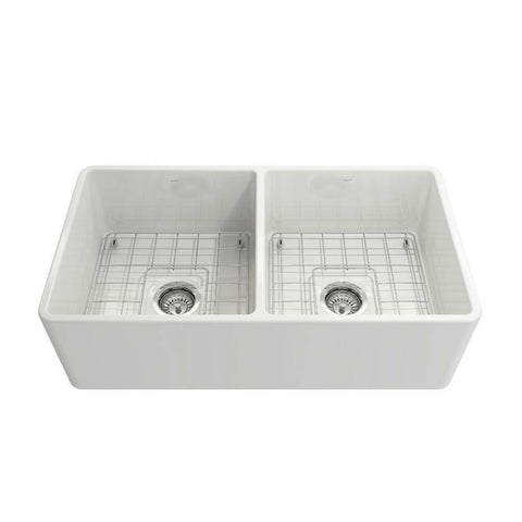 Image of Bocchi Classico White 33D Fireclay Farmhouse Sink front view white background