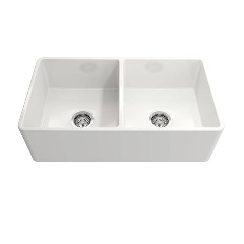 Image of Bocchi Classico White 33D Fireclay Farmhouse Sink Double Bowl Free Grid-Annie & Oak