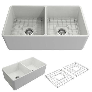 Bocchi Classico 33D Matte White Double Bowl Fireclay Farmhouse Sink W/ Grid