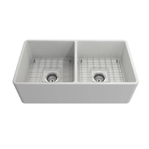Bocchi Classico 33D Matte White Double Bowl Fireclay Farmhouse Sink W/ Grid-Annie & Oak