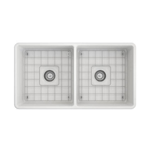 Image of Bocchi Classico 33D Matte White Double Bowl Fireclay Farmhouse Sink W/ Grid - Annie & Oak