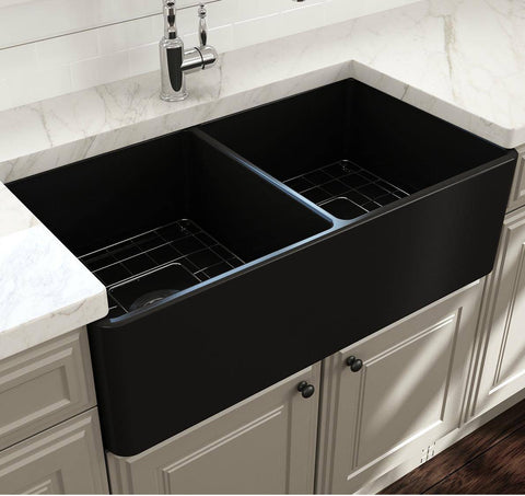 Image of Bocchi Classico 33D Matte Black Fireclay Farmhouse Sink Double Bowl W/ Grid - Annie & Oak