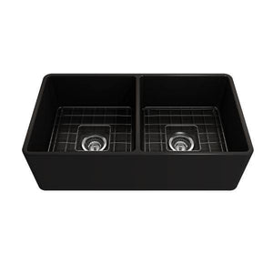 Bocchi Classico 33D Matte Black Fireclay Farmhouse Sink Double Bowl W/ Grid - Annie & Oak