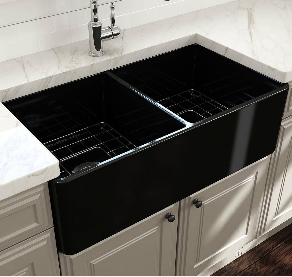 Bocchi Black Classico 33D Fireclay Farmhouse Sink Double Bowl W/ Grid-Annie & Oak
