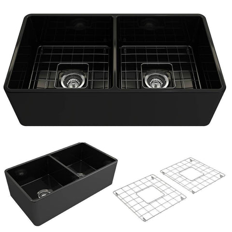 Bocchi Classico 33D Fireclay Farmhouse Sink Double Bowl W/ Grid-Annie & Oak