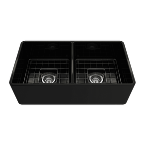 Bocchi Classico 33D Black Fireclay Farmhouse Sink Double Bowl W/ Grid - Annie & Oak