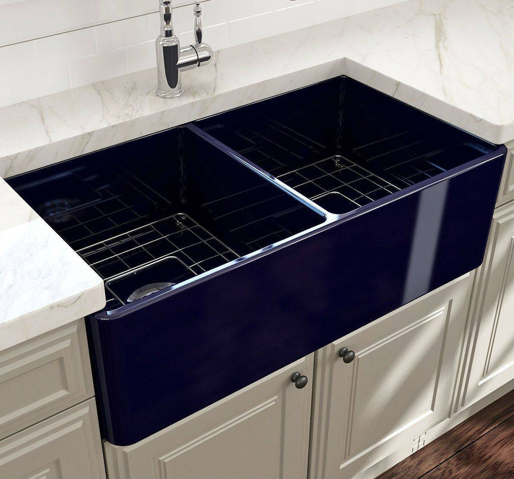 Bocchi Classico 33D Blue Double Bowl Fireclay Farmhouse Sink W/ Grid-Annie & Oak