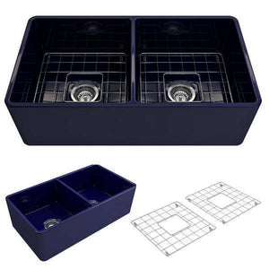 Bocchi Classico 33D Blue Double Bowl Fireclay Farmhouse Sink W/ Grid