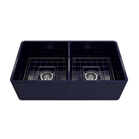 Image of Bocchi Classico 33D Blue Double Bowl Fireclay Farmhouse Sink W/ Grid - Annie & Oak
