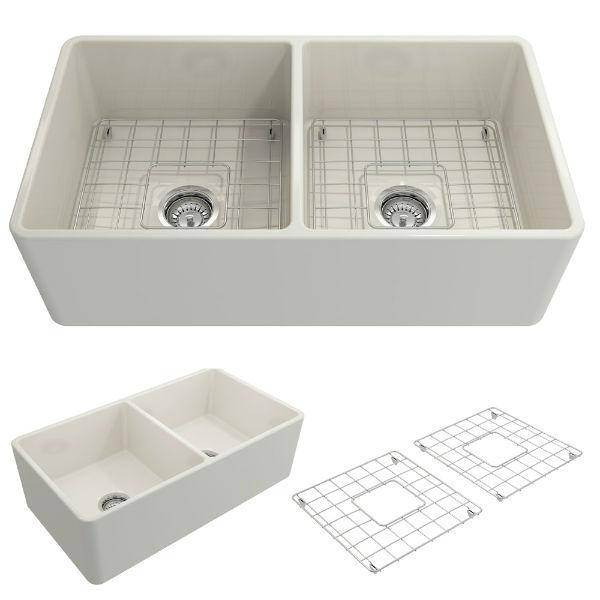 Bocchi Classico 33D Biscuit Double Bowl Fireclay Farmhouse Sink W/ Grid-Annie & Oak