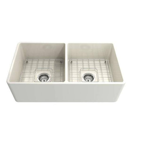 Bocchi Classico 33D Biscuit Double Bowl Fireclay Farmhouse Sink W/ Grid - Annie & Oak