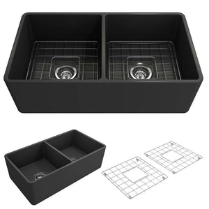 Bocchi Classico 33D Dark Gray Fireclay Farmhouse Sink Double Bowl W/ Grid