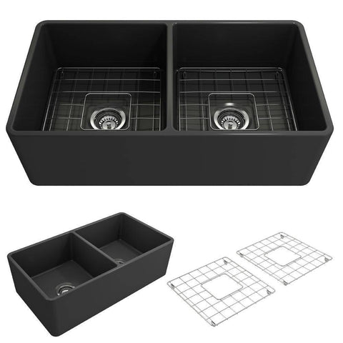 Bocchi Classico 33D Dark Gray Fireclay Farmhouse Sink Double Bowl W/ Grid - Annie & Oak