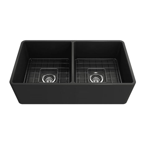 Image of Bocchi Classico 33D Dark Gray Fireclay Farmhouse Sink Double Bowl W/ Grid - Annie & Oak