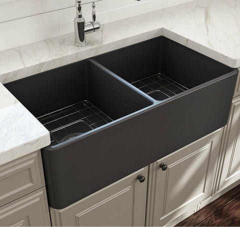 Image of Bocchi Gray Classico 33D Fireclay Farmhouse Sink Double Bowl W/ Grid-Annie & Oak