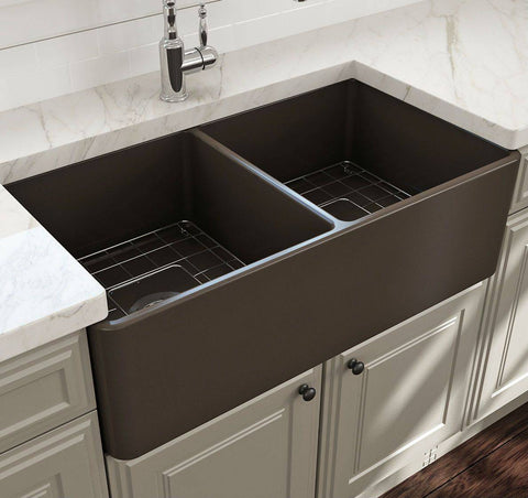 Bocchi Classico 33D Brown Double Bowl Fireclay Farmhouse Sink W/ Grid-Annie & Oak
