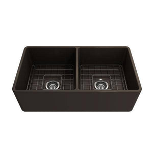Bocchi Classico 33D Brown Double Bowl Fireclay Farmhouse Sink W/ Grid - Annie & Oak