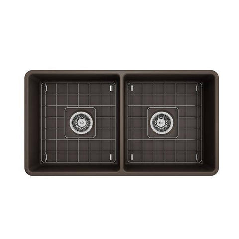 Image of Bocchi Classico 33D Brown Double Bowl Fireclay Farmhouse Sink W/ Grid-Annie & Oak