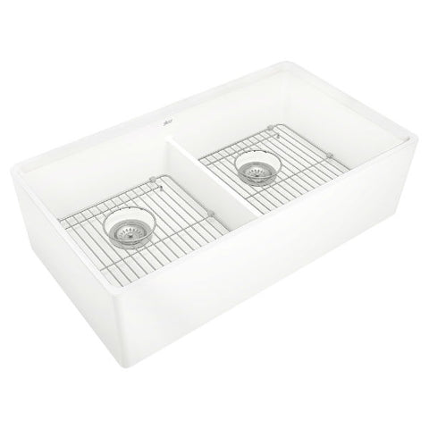 "Image of American Standard Avery 36"" White Double Bowl Fireclay Farmhouse Sink w/ Grid - Annie & Oak"