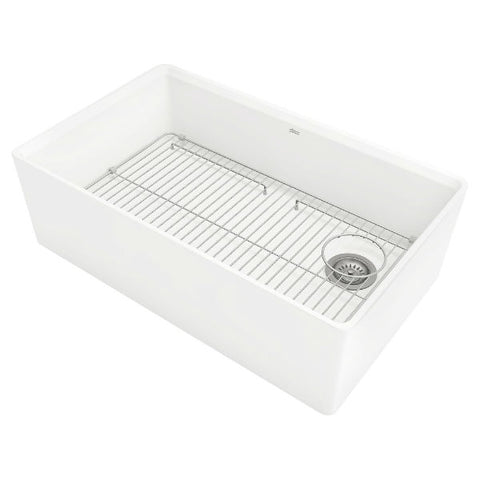 "Image of American Standard Avery 30"" White Single Bowl Fireclay Farmhouse Sink w/ Grid-Annie & Oak"