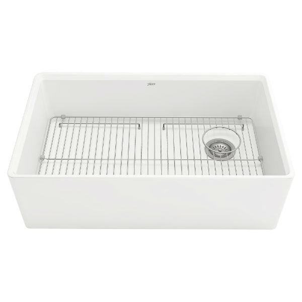 "American Standard Avery 30"" White Single Bowl Fireclay Farmhouse Sink w/ Grid-Annie & Oak"