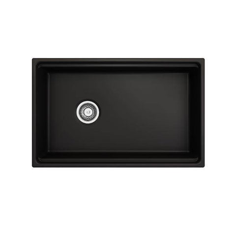 Image of Bocchi Contempo 30 Matte Black Fireclay Farmhouse Sink Single Bowl Step Rim-Annie & Oak