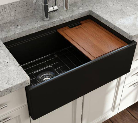 Bocchi Contempo 30 Matte Black Fireclay Farmhouse Sink Single Bowl Step Rim-Annie & Oak