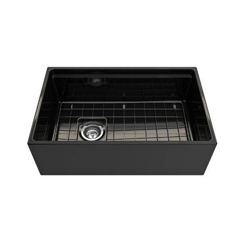 Image of Bocchi Contempo 30 Black Fireclay Farmhouse Sink Single Bowl Step Rim - Annie & Oak
