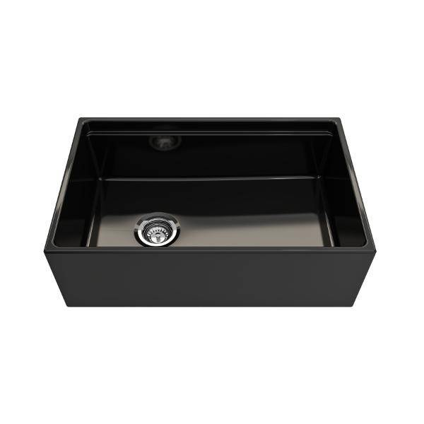 Bocchi Contempo 30 Black Fireclay Farmhouse Sink Single Bowl Step Rim-Annie & Oak
