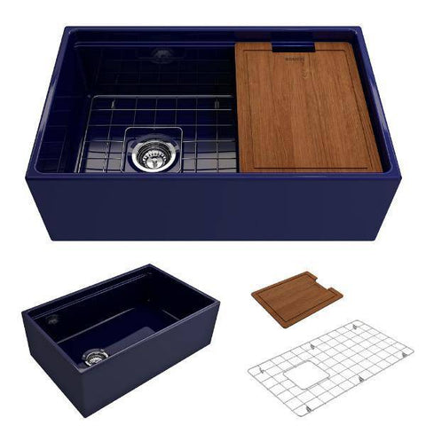 Image of Bocchi Contempo 30 Blue Fireclay Farmhouse Sink Single Bowl Step Rim-Annie & Oak
