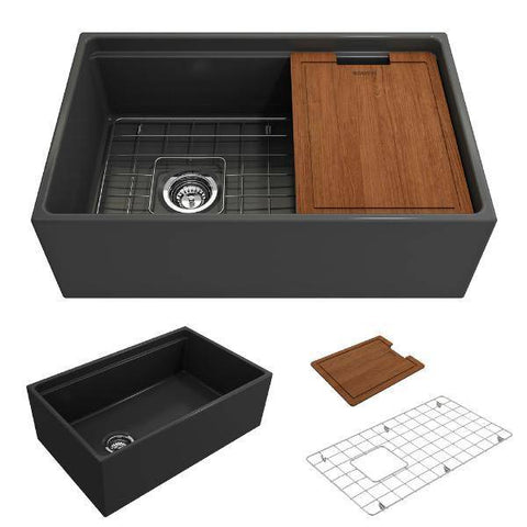 Image of Bocchi Contempo 30 Dark Gray Fireclay Farmhouse Sink Single Bowl Step Rim - Annie & Oak