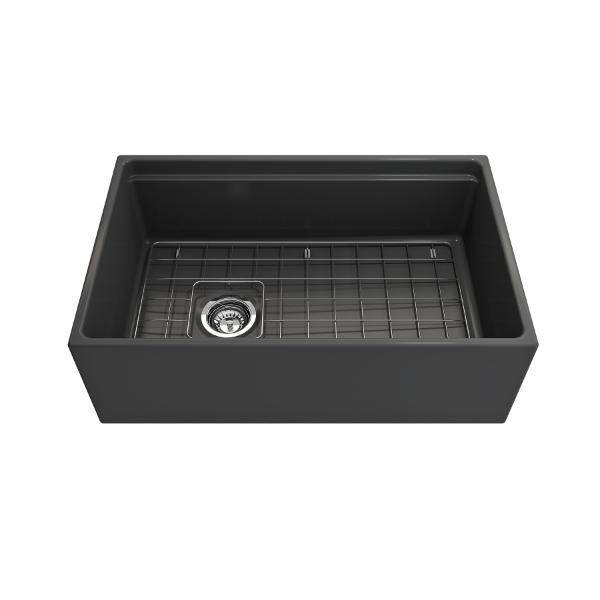 Bocchi Contempo 30 Dark Gray Fireclay Farmhouse Sink Single Bowl Step Rim - Annie & Oak