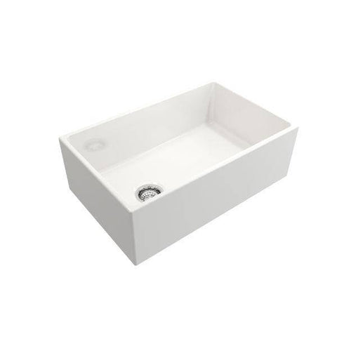 Image of Bocchi Contempo 30 White Fireclay Single Bowl Farmhouse Sink w/ Grid - Annie & Oak