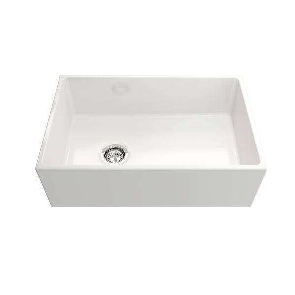 Bocchi Contempo 30 White Fireclay Single Bowl Farmhouse Sink w/ Grid-Annie & Oak
