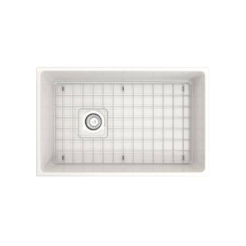 Bocchi Contempo 30 White Fireclay Single Bowl Farmhouse Sink w/ Grid - Annie & Oak