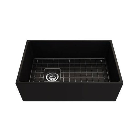 Bocchi Contempo 30 Matte Black Fireclay Single Bowl Farmhouse Sink w/ Grid-Annie & Oak