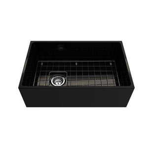 Bocchi Contempo 30 Black Fireclay Single Bowl Farmhouse Sink w/ Grid-Annie & Oak