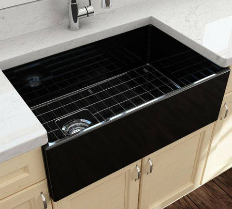 Image of Bocchi Contempo 30 Black Fireclay Single Bowl Farmhouse Sink w/ Grid - Annie & Oak