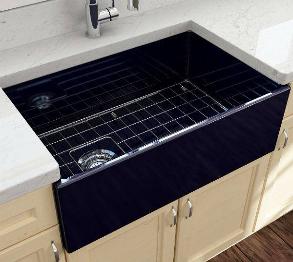 Bocchi Contempo 30 Blue Fireclay Single Bowl Farmhouse Sink w/ Grid - Annie & Oak