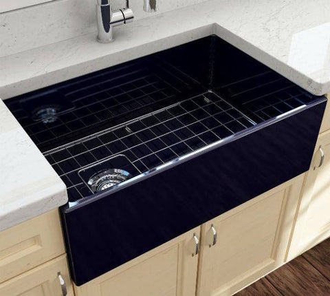 Image of Bocchi Contempo 30 Blue Fireclay Single Bowl Farmhouse Sink w/ Grid - Annie & Oak