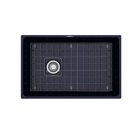 Image of Bocchi Contempo 30 Blue Fireclay Single Bowl Farmhouse Sink w/ Grid-Annie & Oak