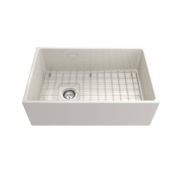 Bocchi Contempo 30 Biscuit Fireclay Single Bowl Farmhouse Sink w/ Grid - Annie & Oak