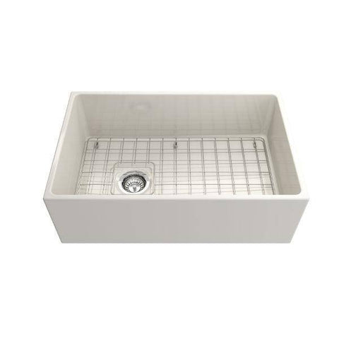 Image of Bocchi Contempo 30 Biscuit Fireclay Single Bowl Farmhouse Sink w/ Grid - Annie & Oak