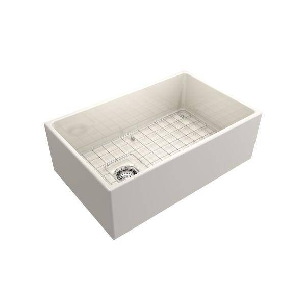 Bocchi Contempo 30 Biscuit Fireclay Single Bowl Farmhouse Sink w/ Grid-Annie & Oak
