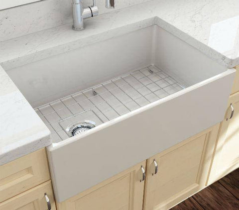 Image of Bocchi Contempo 30 Biscuit Fireclay Single Bowl Farmhouse Sink w/ Grid-Annie & Oak